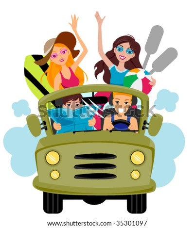 Friends on Jeep Going to the Beach - Vector