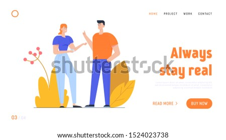 Friends or Colleagues Friendly Discussing Website Landing Page. Young Man and Woman with Cup of Hot Drink Talking and Communicate People Communicating Web Page Banner. Cartoon Flat Vector Illustration