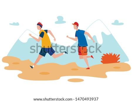 Friends Outdoor Jogging Flat Vector Illustration. Two Runners Exercising, Training, Sportsmen Workout Cartoon Characters. Mountains Picturesque Landscape. People Running on Nature, Doing Sport