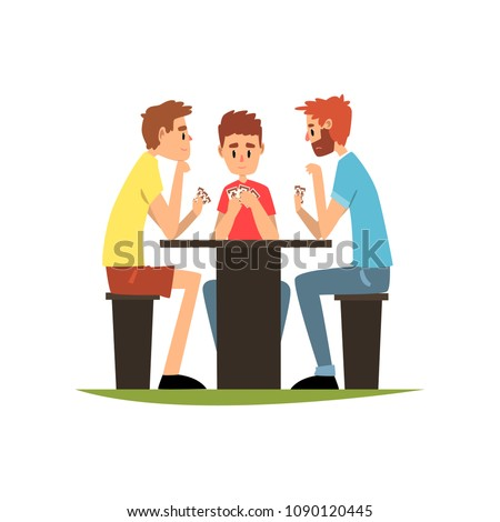 Friends playing cards sitting at the table, men having good time together vector Illustration on a white background