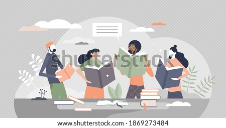 Friends reading books in library literature club meeting tiny person concept. Common hobby community or educational entertainment vector illustration. Social group with interest in stories or poem.