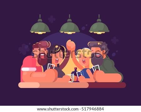 friends relaxing at bar