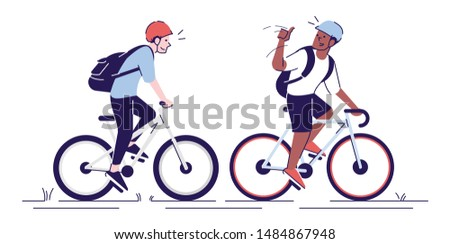 Friends riding bicycles flat vector illustrations. Cyclists with helmets, sportsmen, athletes on bikes. Tourists with backpacks isolated cartoon characters with outline elements on white background