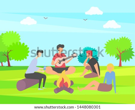 Friends spending time vector, summer vacation together in park camping near campfire, people playing guitar outdoor activity, happy weekend with friend, summertime by bonfire Stock photo ©