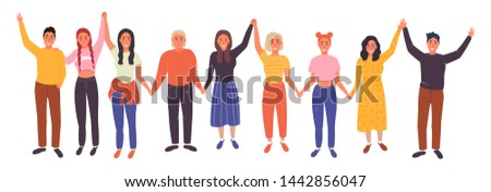 Friends standing together. Happy friendship day vector illustration