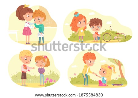 Friends support and comfort sad kids set. Empathy, compassion and love vector illustration. Girls and boys crying, feeling pain or sorrow. Children consoling and caring, sympathy.