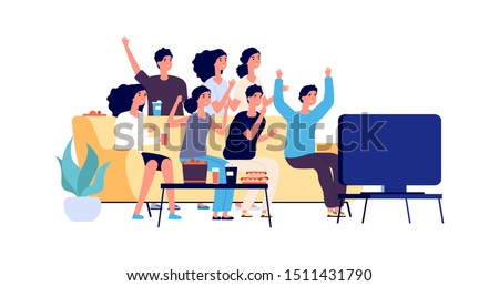 Friends watching TV. Students party. Young people, teenagers with fast food and drinks. Vector fans watch match on TV
