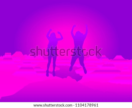 friends with hands up jumping