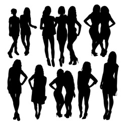 Friends woman silhouettes