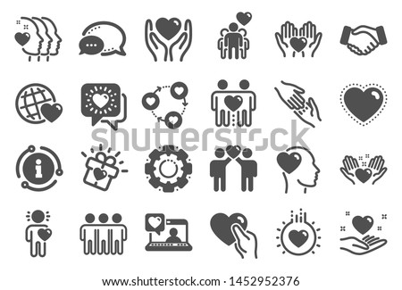 Friendship and love icons. Interaction, Mutual understanding and assistance business. Trust handshake, social responsibility, mutual love icons. Trust friends, partnership. Quality set. Vector