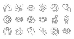 Friendship and love line icons. Interaction, Mutual understanding and assistance business. Trust handshake, social responsibility icons. Linear set. Quality line set. Vector