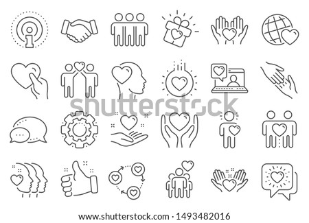 Friendship and love line icons. Interaction, Mutual understanding and assistance business. Trust handshake, social responsibility, mutual love icons. Trust friends, partnership. Line signs set. Vector