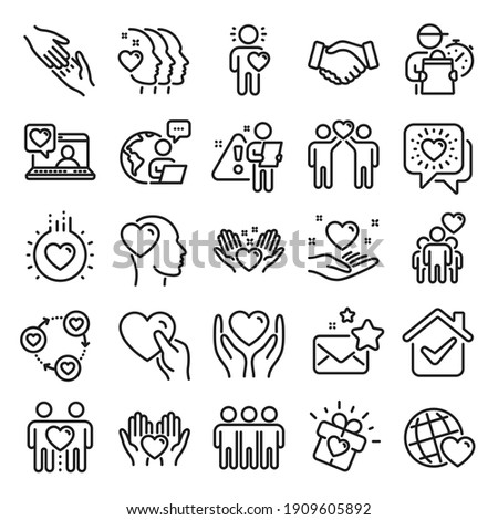 Friendship and love line icons. Interaction, Mutual understanding and assistance business. Trust handshake, social responsibility, mutual love icons. Trust friends, partnership. Line icon set. Vector