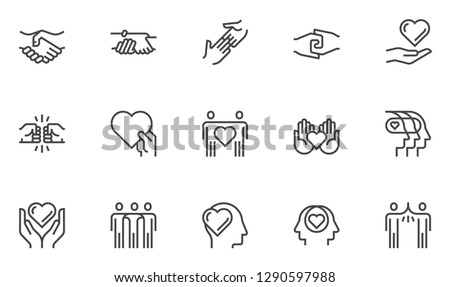 Friendship and Love Vector Line Icons Set. Relationship, Mutual Understanding, Mutual Assistance, Interaction. Editable Stroke. 48x48 Pixel Perfect.