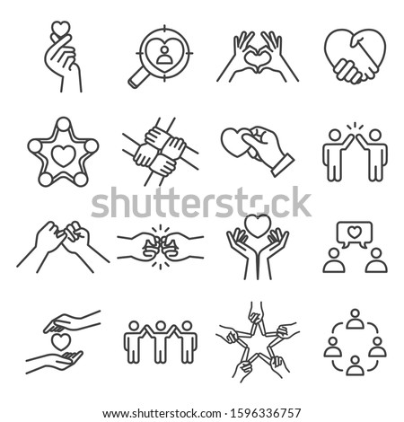 Friendship and love vector lines icon set. Contains such Icons as heart, care, partnership and more. Editable Stroke