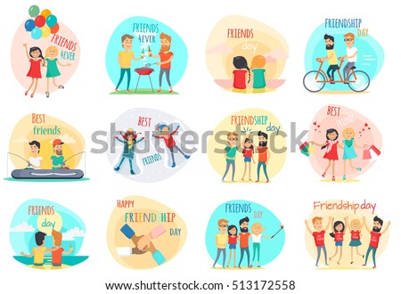 Friendship. Best friend forever. International friends. Celebration happy friends day. Positive emotions. True friend. Friend's shopping, riding on bicycle, fishing, picnic, party. Flat design. Vector