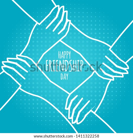 friendship day concept. hands holding each other stock vector illustration. greeting card design for happy friendship day