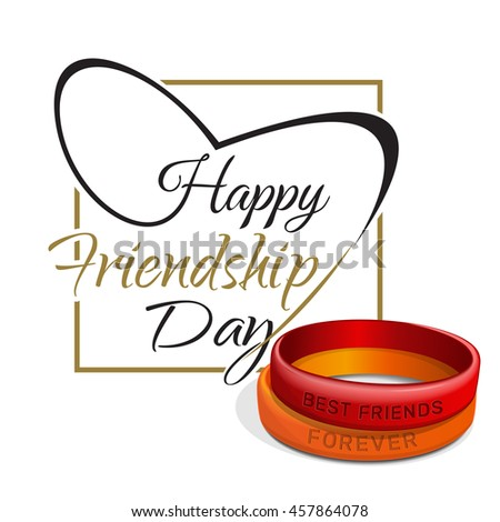Friendship Day lettering card. Typographic design. Red, orange friendship bands and lettering - Happy Friendship Day. Vector illustration