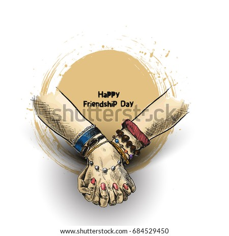 Friendship day with holding hand, Hand Drawn Sketch Vector illustration.