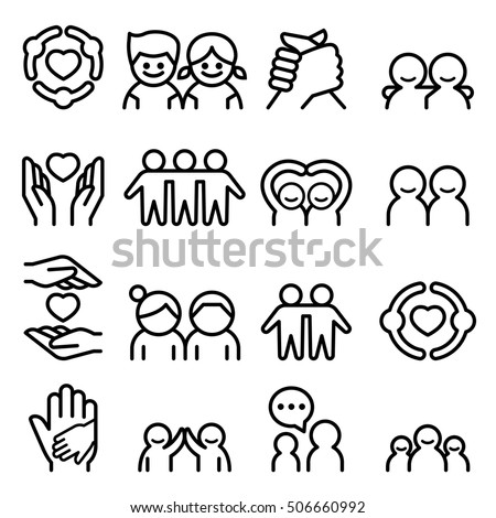 friendship   friend icon set in