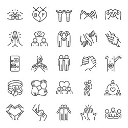 Friendship, icon set. Communication and Interaction, mutual affection, relationship between people, linear icons. Friends chatting and having fun with each other. Line with editable stroke