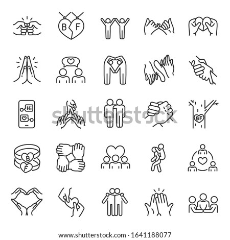 Friendship, icon set. Communication and Interaction, mutual affection, relationship between people, linear icons. Friends chatting and having fun with each other. Line with editable stroke Сток-фото ©
