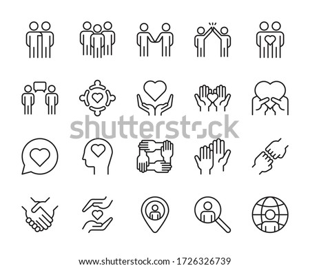 Friendship line icons set vector illustration. editable stroke