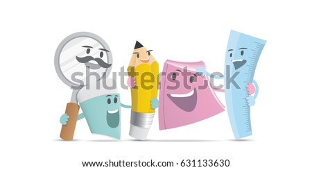 Friendship of stationery group character cartoon design illustration vector. Education concept.