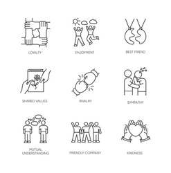 Friendship pixel perfect linear icons set. Emotional affection, interpersonal bond, social relationship customizable thin line contour symbols. Isolated vector outline illustrations. Editable stroke