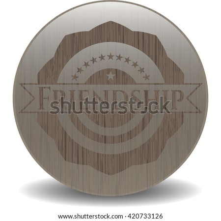 Friendship retro style wooden emblem