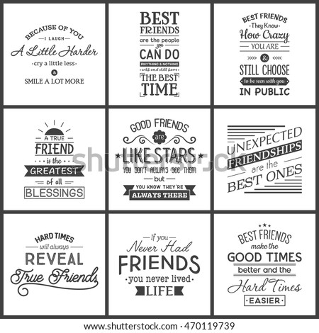 Friendship. Typography quotes.