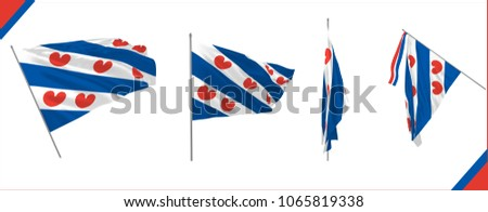Friesland province flag set in Netherlands waving in the wind in solemn or proud style. Vector illustration.