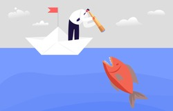 Frightened Business Character Looking through Spyglass in Ocean Water with Huge Fish. Business Man on Paper Boat Avoid Crisis, Bankruptcy Situation, Prevent Hidden Danger. Cartoon Vector Illustration