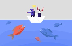 Frightened Business Characters Escape Attack of Huge Fish in Sea. Business People on Paper Boat Avoid Crisis, Finance Bankruptcy. Dangerous Situation, Hidden Danger. Cartoon Vector Illustration