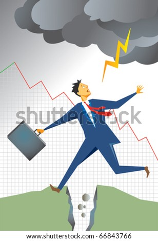 Frightened businessman jumping a chasm or split in the earth as lightening from storm clouds is about to strike him. Background graph of falling sales. Failure and bankruptcy theme.