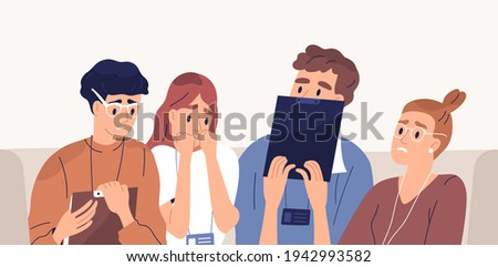 Frightened people afraid of failure. Terrified employees with fear of business fail. Panicked colleagues with facial expressions of anxiety and shock. Flat vector illustration of scared workers Сток-фото ©