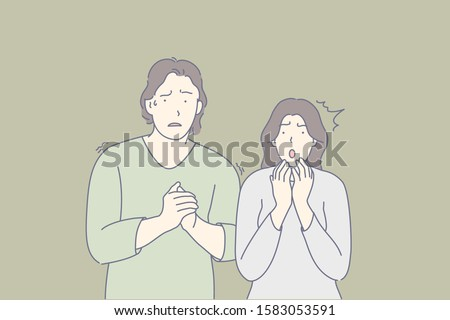 Frightened people, scared couple, shocked friends concept. Man and woman trembling with fear. Nervous guy sweating, clasping hands. Terrified lady panicking. Emotional tension. Simple flat vector ストックフォト ©
