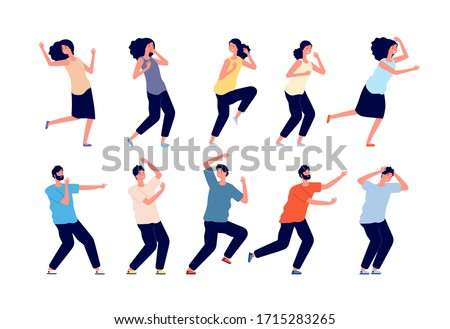 Frightened people. Young emotional person, panic or crisis. Man woman afraid, girl scared. Expression reaction, isolated humans vector set Сток-фото ©