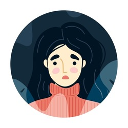 Frightened, scared young woman surrounded by imaginary ghosts flying around her. Panic attack, fears, paranoia and sleeping disorder. Vector hand-drawn illustration