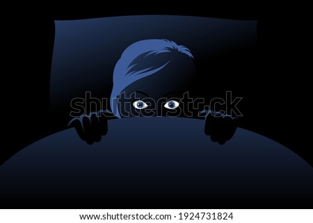 Frightened woman is hiding behind blanket in bed at deep night, panicking, looking fearful and anxious, feeling horror. Concept of nightmares, sleeping problem, insomnia caused by phobias Сток-фото ©
