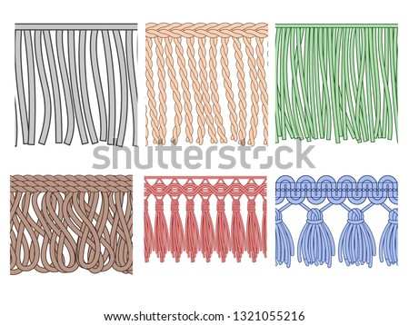 Fringe trim. Textile fringes, raw cloth edge and fashion garment frills. Seamless ruffles fiber, ruffle sewing polyester fiber. Isolated vector patterns icons set Stockfoto ©