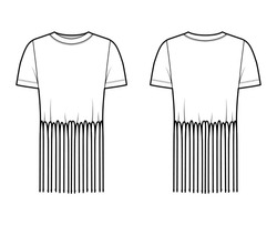 Fringed cotton-jersey top technical fashion illustration with scoop neck, short sleeves, above-the-knee length, oversized. Flat apparel template front back white color. Women men unisex top CAD mockup