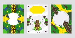 Frog animal vector illustration with blank space for text, banner or greeting card template set with copy space. Background design with green, yellow, blue amphibian on waterlily, dragonfly and moth.