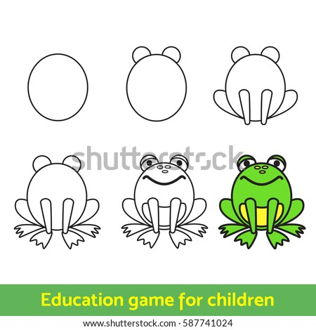 frog  drawing process  for kids
