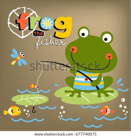 frog fishing time  vector
