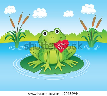 frog holding valentine's heart