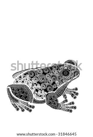 Frog in the beautiful patterns in ethnic style