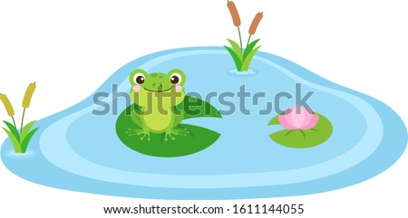 Frog in the pond vector illustration. Cute frog cartoon character design. Amphibian clip art sitting on a leaf in a pond or swamp. Adorable frog character graphic with flat style in vector eps 10.