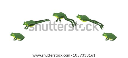 Frog Jumping Animation Sequence Cartoon Vector Illustration