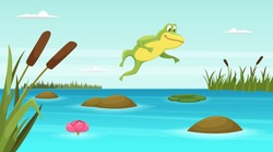Frog jumping in pond. Vector cartoon background. Illustration of toad amphibian